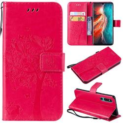 Embossing Butterfly Tree Leather Wallet Case for Huawei P30 - Rose