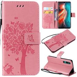 Embossing Butterfly Tree Leather Wallet Case for Huawei P30 - Pink