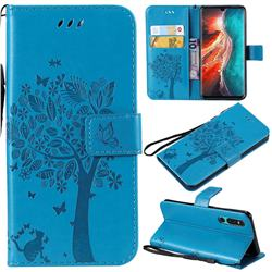 Embossing Butterfly Tree Leather Wallet Case for Huawei P30 - Blue