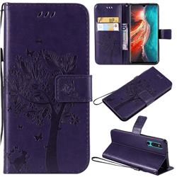Embossing Butterfly Tree Leather Wallet Case for Huawei P30 - Purple