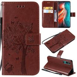 Embossing Butterfly Tree Leather Wallet Case for Huawei P30 - Coffee