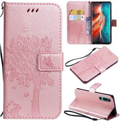 Embossing Butterfly Tree Leather Wallet Case for Huawei P30 - Rose Pink