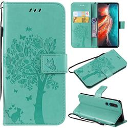 Embossing Butterfly Tree Leather Wallet Case for Huawei P30 - Cyan