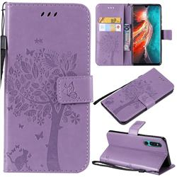Embossing Butterfly Tree Leather Wallet Case for Huawei P30 - Violet