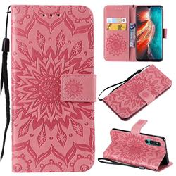 Embossing Sunflower Leather Wallet Case for Huawei P30 - Pink