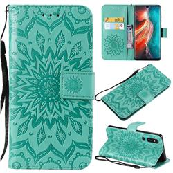 Embossing Sunflower Leather Wallet Case for Huawei P30 - Green