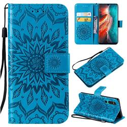 Embossing Sunflower Leather Wallet Case for Huawei P30 - Blue