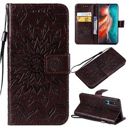 Embossing Sunflower Leather Wallet Case for Huawei P30 - Brown