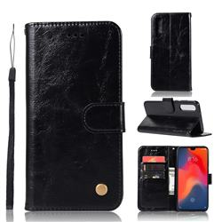 Luxury Retro Leather Wallet Case for Huawei P30 - Black