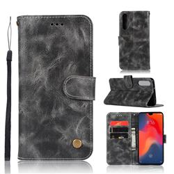 Luxury Retro Leather Wallet Case for Huawei P30 - Gray