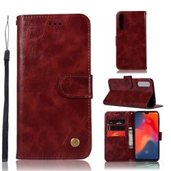 Luxury Retro Leather Wallet Case for Huawei P30 - Wine Red