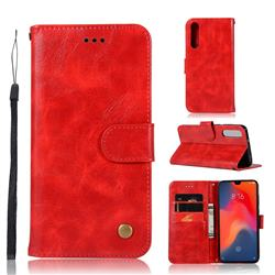 Luxury Retro Leather Wallet Case for Huawei P30 - Red