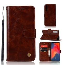 Luxury Retro Leather Wallet Case for Huawei P30 - Brown
