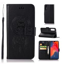 Intricate Embossing Owl Campanula Leather Wallet Case for Huawei P30 - Black