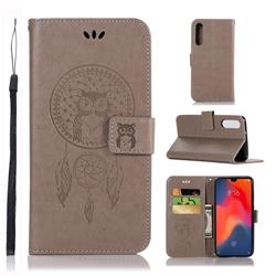 Intricate Embossing Owl Campanula Leather Wallet Case for Huawei P30 - Grey