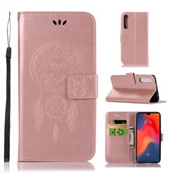 Intricate Embossing Owl Campanula Leather Wallet Case for Huawei P30 - Rose Gold