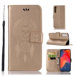 Intricate Embossing Owl Campanula Leather Wallet Case for Huawei P30 - Champagne