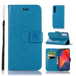 Intricate Embossing Owl Campanula Leather Wallet Case for Huawei P30 - Blue