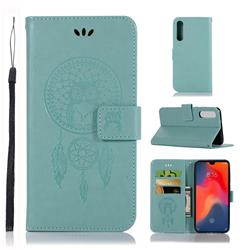 Intricate Embossing Owl Campanula Leather Wallet Case for Huawei P30 - Green