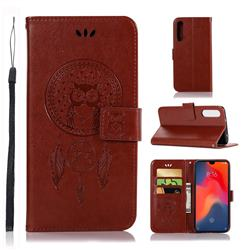 Intricate Embossing Owl Campanula Leather Wallet Case for Huawei P30 - Brown