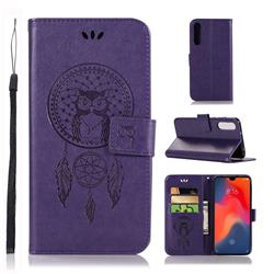 Intricate Embossing Owl Campanula Leather Wallet Case for Huawei P30 - Purple