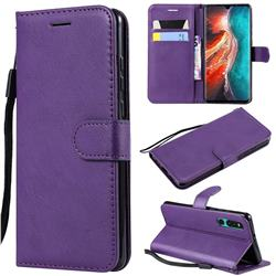 Retro Greek Classic Smooth PU Leather Wallet Phone Case for Huawei P30 - Purple