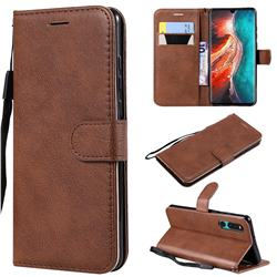 Retro Greek Classic Smooth PU Leather Wallet Phone Case for Huawei P30 - Brown