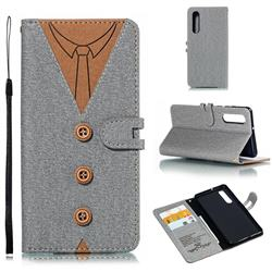 Mens Button Clothing Style Leather Wallet Phone Case for Huawei P30 - Gray