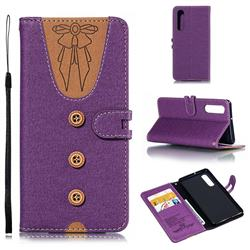 Ladies Bow Clothes Pattern Leather Wallet Phone Case for Huawei P30 - Purple