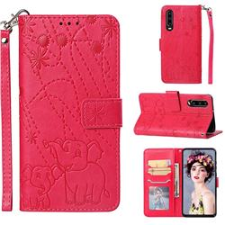 Embossing Fireworks Elephant Leather Wallet Case for Huawei P30 - Red