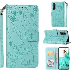 Embossing Fireworks Elephant Leather Wallet Case for Huawei P30 - Green