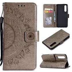 Intricate Embossing Datura Leather Wallet Case for Huawei P30 - Gray