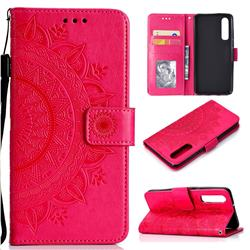Intricate Embossing Datura Leather Wallet Case for Huawei P30 - Rose Red