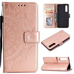 Intricate Embossing Datura Leather Wallet Case for Huawei P30 - Rose Gold