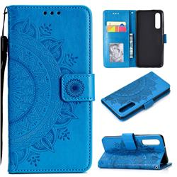 Intricate Embossing Datura Leather Wallet Case for Huawei P30 - Blue