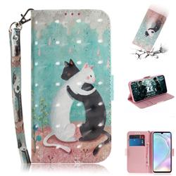 Black and White Cat 3D Painted Leather Wallet Phone Case for Huawei P30