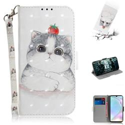 Cute Tomato Cat 3D Painted Leather Wallet Phone Case for Huawei P30