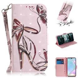 Butterfly High Heels 3D Painted Leather Wallet Phone Case for Huawei P30