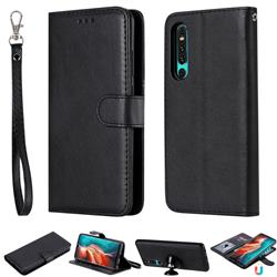 Retro Greek Detachable Magnetic PU Leather Wallet Phone Case for Huawei P30 - Black