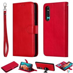 Retro Greek Detachable Magnetic PU Leather Wallet Phone Case for Huawei P30 - Red