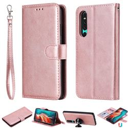 Retro Greek Detachable Magnetic PU Leather Wallet Phone Case for Huawei P30 - Rose Gold