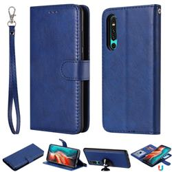 Retro Greek Detachable Magnetic PU Leather Wallet Phone Case for Huawei P30 - Blue