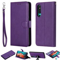 Retro Greek Detachable Magnetic PU Leather Wallet Phone Case for Huawei P30 - Purple