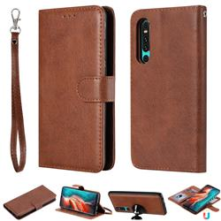 Retro Greek Detachable Magnetic PU Leather Wallet Phone Case for Huawei P30 - Brown