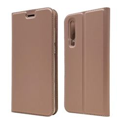 Ultra Slim Card Magnetic Automatic Suction Leather Wallet Case for Huawei P30 - Rose Gold