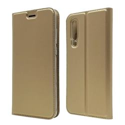 Ultra Slim Card Magnetic Automatic Suction Leather Wallet Case for Huawei P30 - Champagne