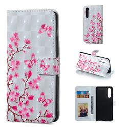 Butterfly Sakura Flower 3D Painted Leather Phone Wallet Case for Huawei P30