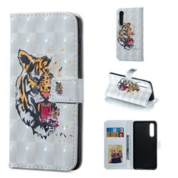 Toothed Tiger 3D Painted Leather Phone Wallet Case for Huawei P30