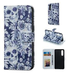 Skull Flower 3D Painted Leather Phone Wallet Case for Huawei P30