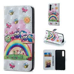 Rainbow Owl Family 3D Painted Leather Phone Wallet Case for Huawei P30